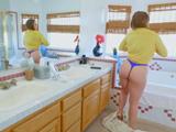 Veo a mi cuñada desnudarse en el baño, que culazo tiene